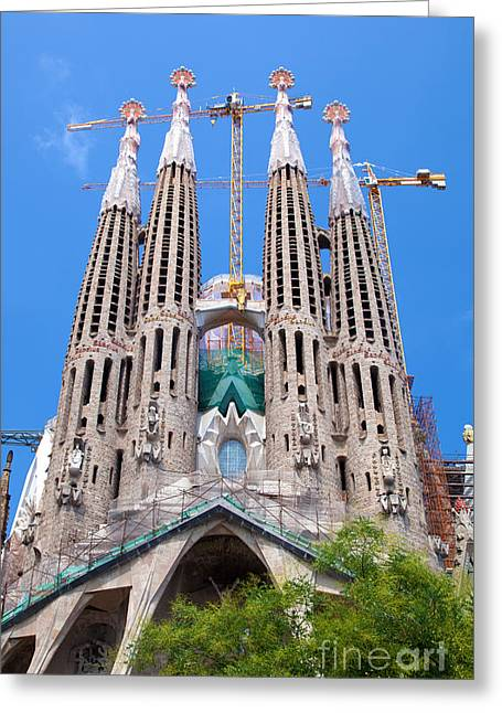 Modernism Greeting Cards - La Sagrada Familia cathedral in Barcelona Greeting Card by Michal Bednarek