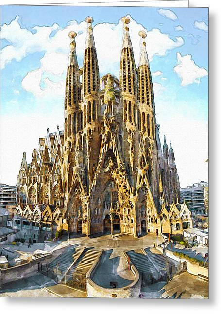 The Church Mixed Media Greeting Cards - La Sagrada Familia watercolor Greeting Card by Marian Voicu