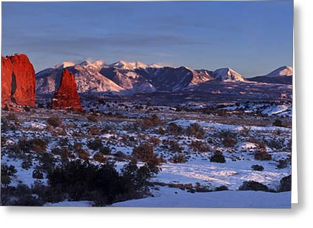 Snow Scene Landscape Greeting Cards - La Sal Alpenglow Greeting Card by Jacob W Frank