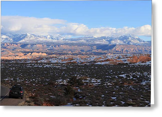 Southern Utah Greeting Cards - La Sal Mountains Panorama Greeting Card by Adam Jewell