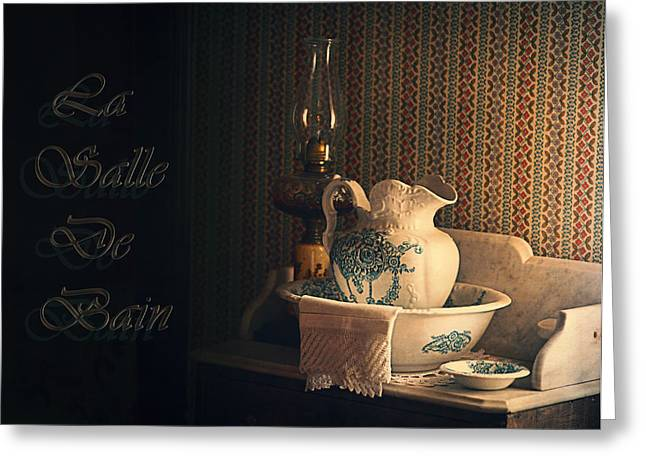 Vintage China Greeting Cards - La Salle De Bain Greeting Card by Maria Angelica Maira