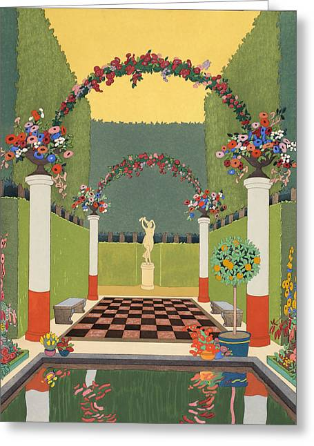 Checkerboard Greeting Cards - La Salle Verte Greeting Card by Georges Barbier