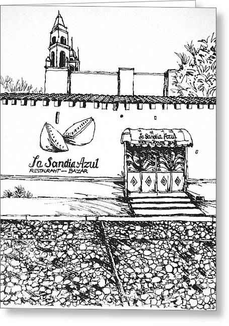 Sandia Drawings Greeting Cards - La Sandia Azul Restaurant Mexico Greeting Card by Robert Birkenes