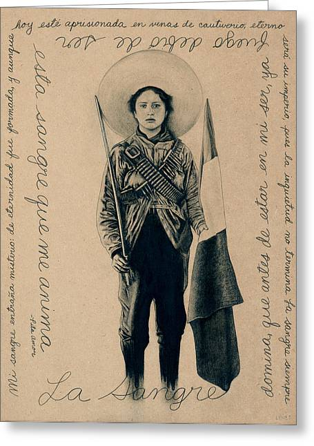 Mexican Fighters Greeting Cards - La Sangre Greeting Card by Lynet McDonald