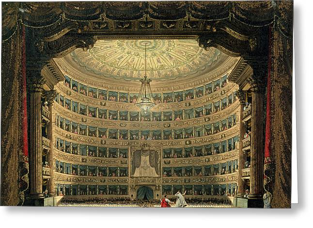 La Scala, Milan, During A Performance Greeting Card by Italian School