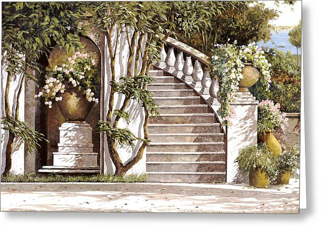 Stairs Paintings Greeting Cards - La Scalinata Greeting Card by Guido Borelli