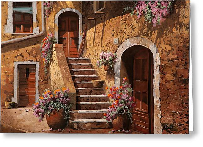 Noon Greeting Cards - La Scalinata In Cortile Greeting Card by Guido Borelli