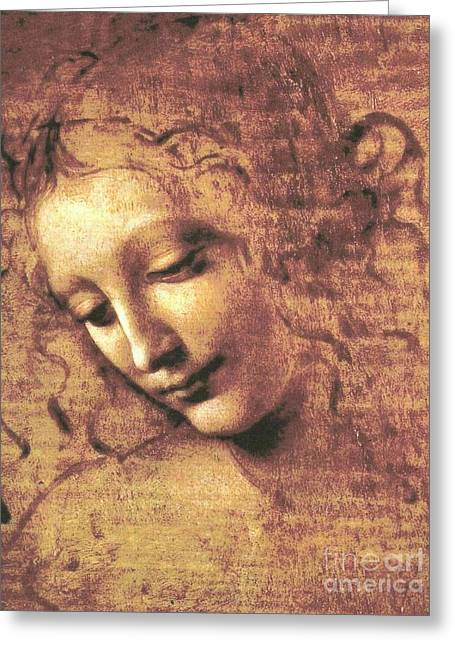 Woman Head Greeting Cards - La Scapigliata Greeting Card by Pg Reproductions