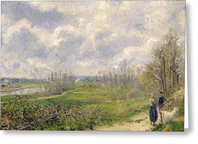 Polluting Greeting Cards - La Sente du Chou near Pontoise Greeting Card by Camille Pissarro