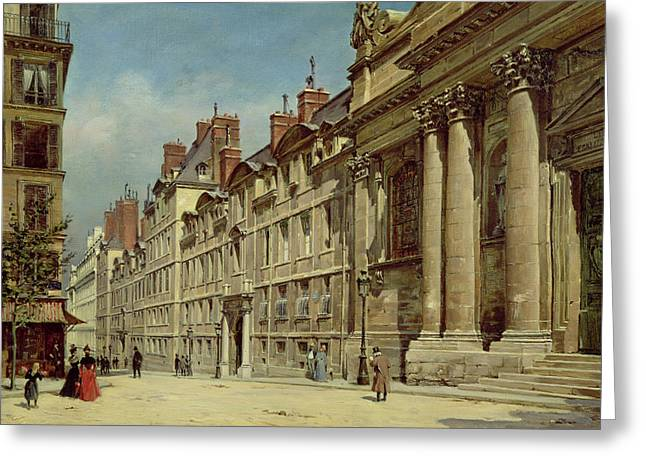 Paris In Lights Greeting Cards - La Sorbonne Greeting Card by Paul Joseph Victor Dargaud