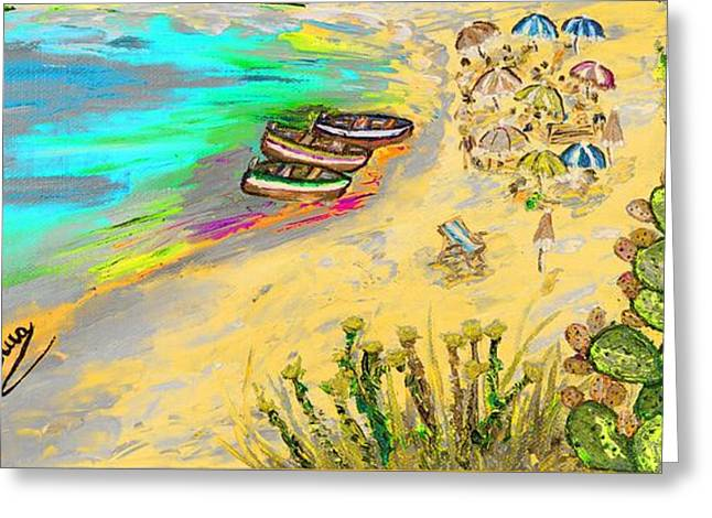 Europe Mixed Media Greeting Cards - La spiaggia Greeting Card by Loredana Messina