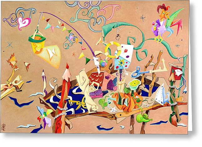 Wallpaper Pastels Greeting Cards - La STaNZa Dei GioCaTToLi - Children Illustration Wallpaper Greeting Card by Arte Venezia