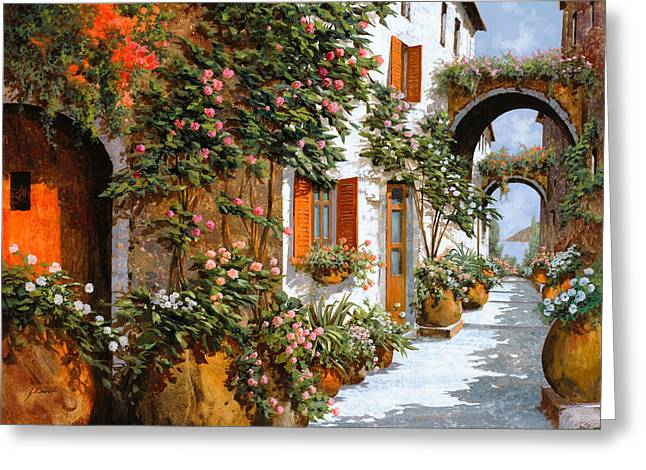 Arches Greeting Cards - La Strada Al Sole Greeting Card by Guido Borelli
