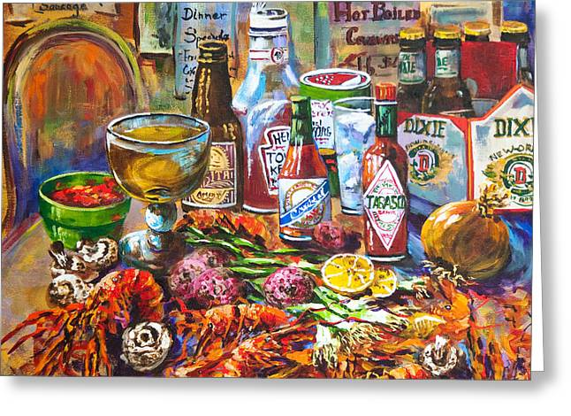 Beer Paintings Greeting Cards - La Table de Fruits de Mer Greeting Card by Dianne Parks