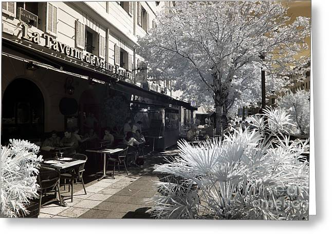 D.w Greeting Cards - La Taverne Greeting Card by John Rizzuto