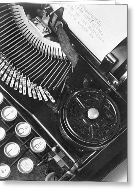 Mechanism Greeting Cards - La Tecnica - The Typewriter Of Julio Greeting Card by Tina Modotti