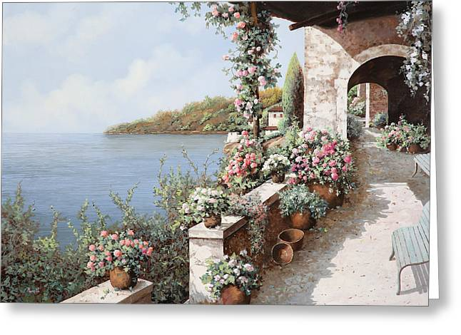 Vase Greeting Cards - La Terrazza Greeting Card by Guido Borelli