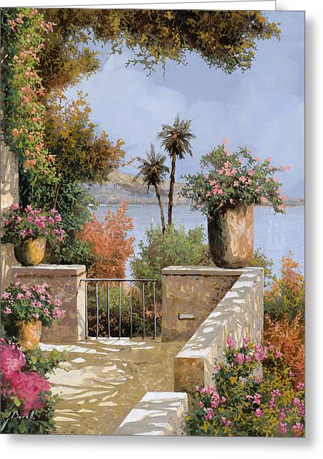 Terrace Greeting Cards - La Terrazza Un Vaso Due Palme Greeting Card by Guido Borelli