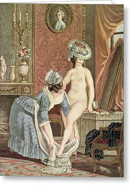 Dressing Room Drawings Greeting Cards - La Toilette Engraving By Louis Marin Greeting Card by Nicolas Rene Jollain