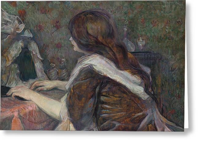 Henri De Toulouse-lautrec Paintings Greeting Cards - La Toilette. Madame Poupoule Greeting Card by Henri de Toulouse-Lautrec