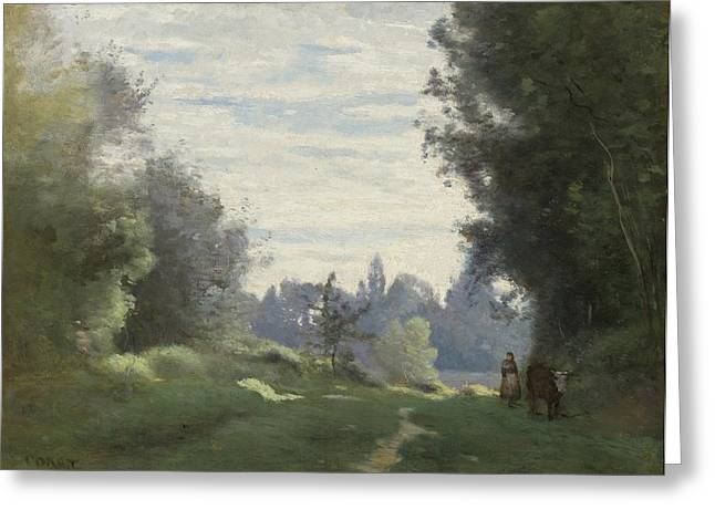 Champs Greeting Cards - La Vache Allant Aux Champs Greeting Card by Jean-baptiste-camille Corot