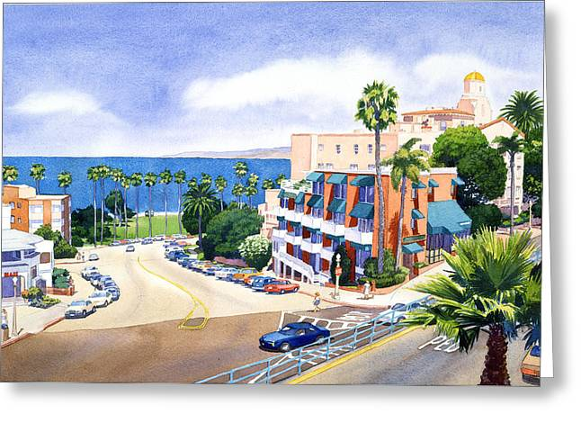 Scape Greeting Cards - La Valencia and Prospect Park Inn LJ Greeting Card by Mary Helmreich