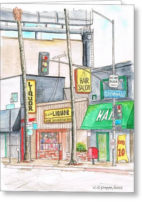 Vida Greeting Cards - La vida Liquor and Hair Salon -in Sunset Blvd - Hollywood - California Greeting Card by Carlos G Groppa