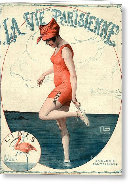 Swimsuits Swimming Costumes Greeting Cards - La Vie Parisienne 1910s France Georges Greeting Card by The Advertising Archives