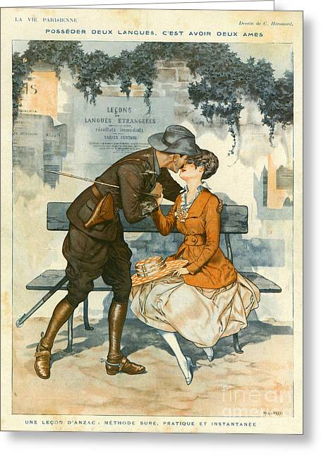 First Love Drawings Greeting Cards - La Vie Parisienne 1916 1910s France Greeting Card by The Advertising Archives