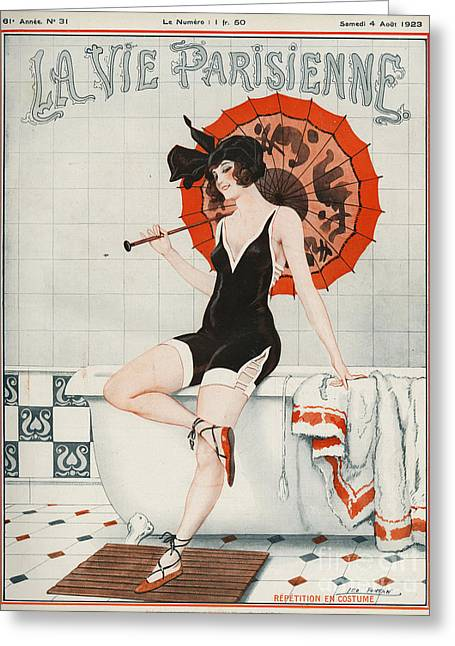 WomenÕs Drawings Greeting Cards - La Vie Parisienne  1923 1920s France Greeting Card by The Advertising Archives