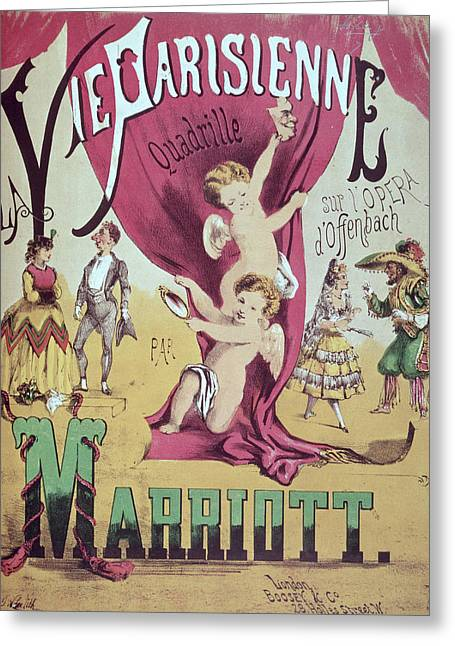 Texting Drawings Greeting Cards - La Vie Parisienne Quadrille Poster Greeting Card by English School