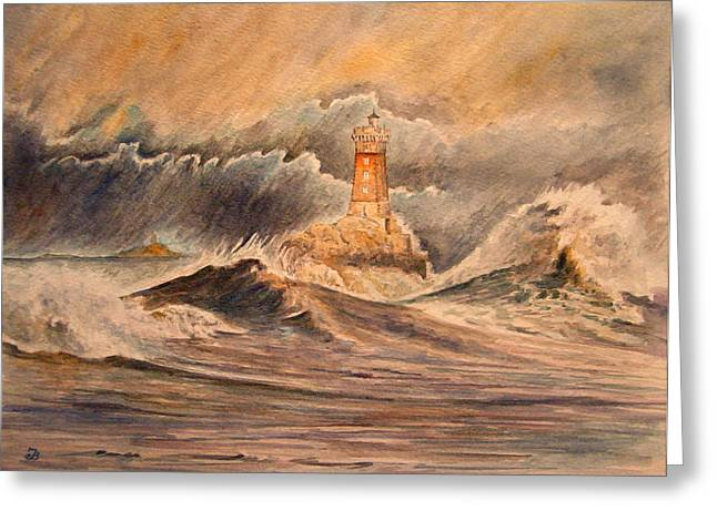 Seascape Art Greeting Cards - La Vieille lighthouse Greeting Card by Juan  Bosco