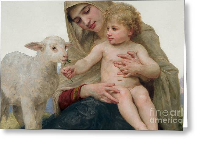 Virgin Greeting Cards - La Vierge a lAgneau Greeting Card by William-Adolphe Bouguereau