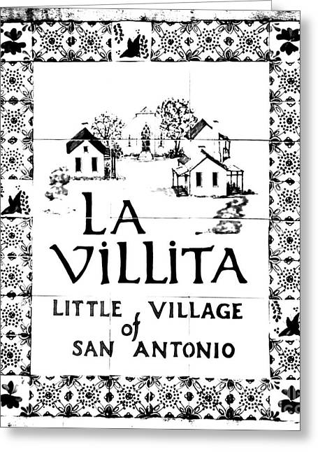 La Villita Greeting Cards - La Villita Tile Sign on the Riverwalk San Antonio Texas Black and White Conte Crayon Digital Art Greeting Card by Shawn O