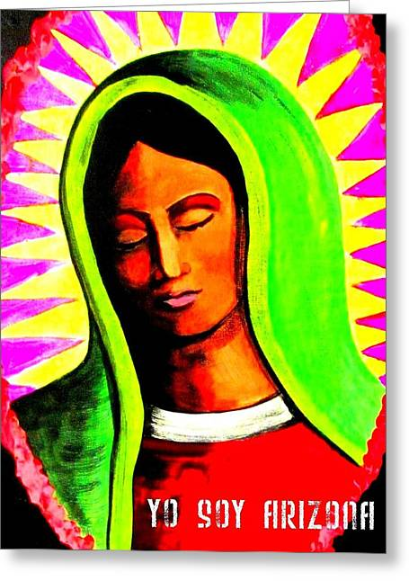Iraq Paintings Greeting Cards - La Virgen Arizona Greeting Card by Michelle Dallocchio