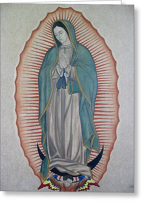 Jesus Pastels Greeting Cards - La Virgen de Guadalupe Greeting Card by Lynet McDonald