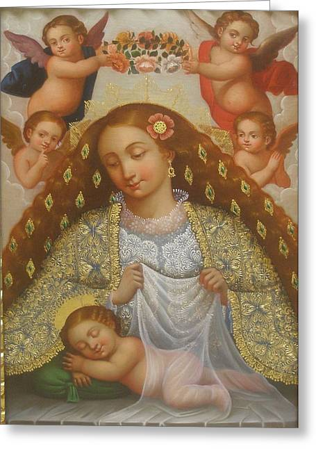 Sweetly Greeting Cards - La Virgen Del Sueno Greeting Card by Jose antonio Robles