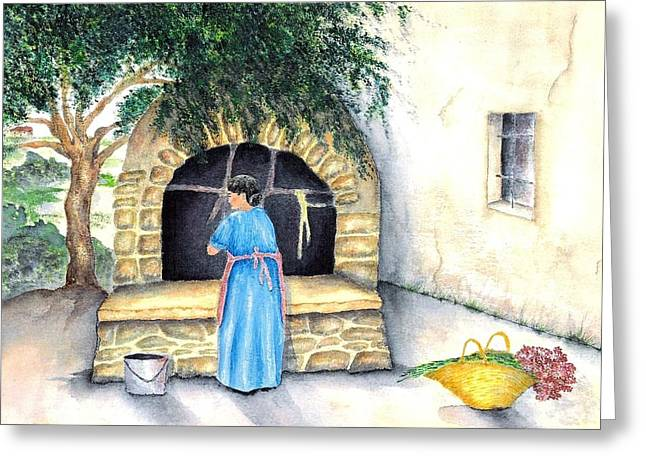 Southern Italy Greeting Cards - La Zia Greeting Card by Pamela Allegretto