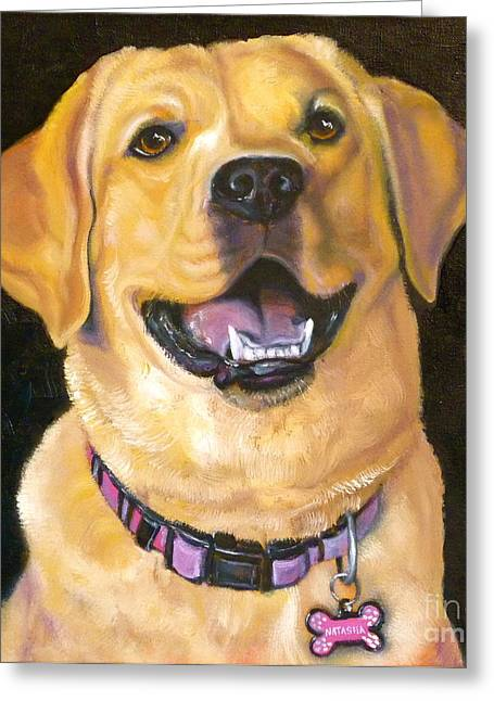 Yellow Dog Drawings Greeting Cards - Lab Adorable Greeting Card by Susan A Becker