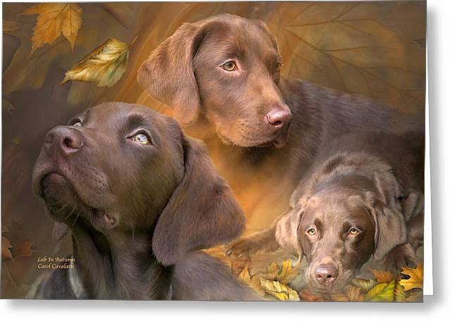 Dog Prints Mixed Media Greeting Cards - Lab In Autumn Greeting Card by Carol Cavalaris