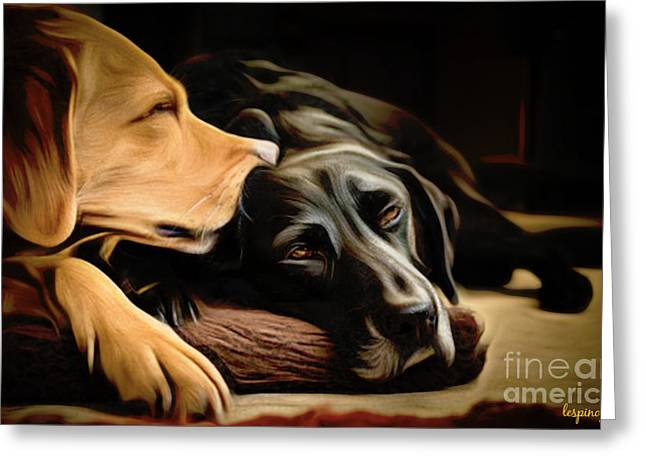 Chocolate Lab Digital Art Greeting Cards - Lab Love Greeting Card by Larry Espinoza