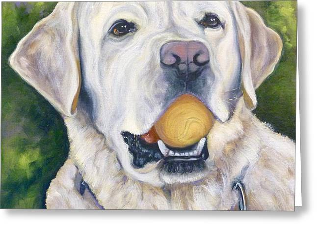 White Lab Greeting Cards - Lab with Orange Ball Greeting Card by Susan A Becker