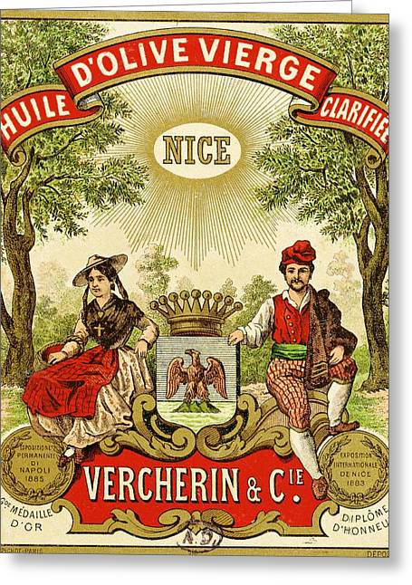 Advertise Greeting Cards - Label for Vercherin Extra Virgin Olive Oil Greeting Card by French School