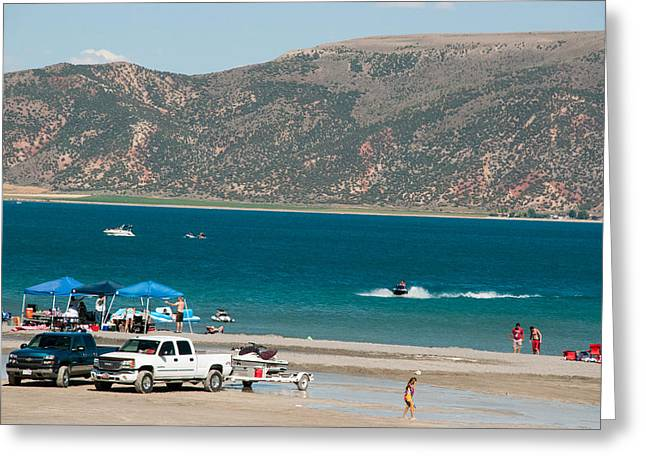 Geobob Greeting Cards - Labor Day at the Beach on Bear Lake Garden City Utah Greeting Card by Robert Ford