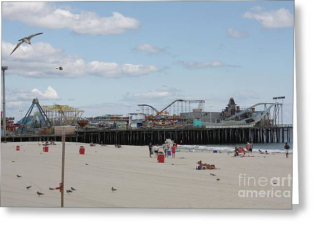 Casino Pier Greeting Cards - Labor Day At The Pier  Greeting Card by Laura Wroblewski
