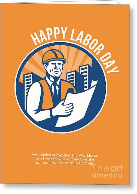 Labor Day Greeting Cards - Labor Day Celebration Poster Retro Greeting Card by Aloysius Patrimonio