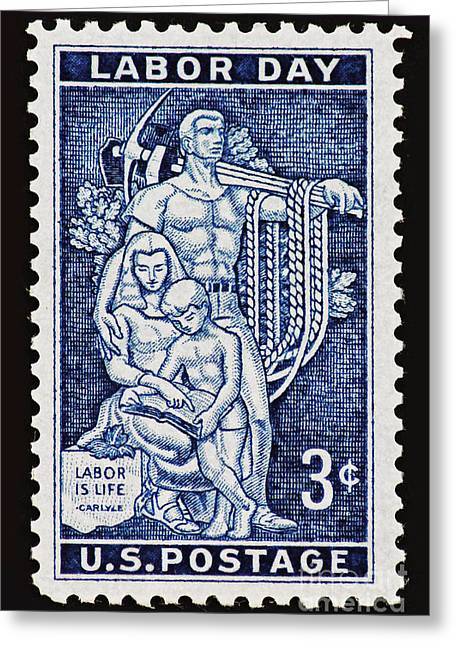 Labor Day Greeting Cards - Labor Day Vintage Postage Stamp Print Greeting Card by Andy Prendy