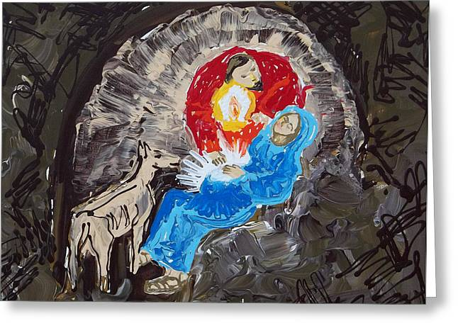Reason For The Season Greeting Cards - Labor in the Manger Greeting Card by Anne Cameron Cutri