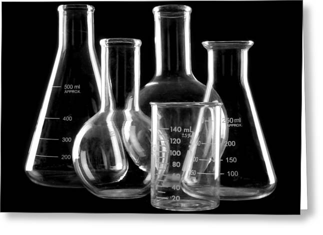 Experiment Greeting Cards - Laboratory Glassware Greeting Card by Jim Hughes
