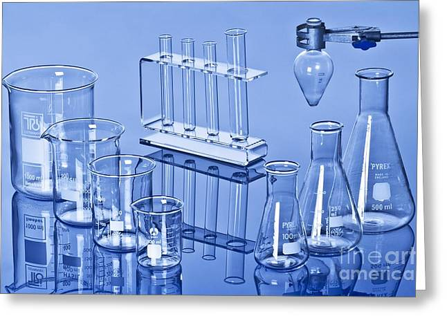 Glass Reflecting Greeting Cards - Laboratory Glassware Greeting Card by Martyn F. Chillmaid
